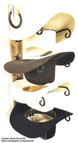 American Made Cowboy Hat Rack Charred 4 HS