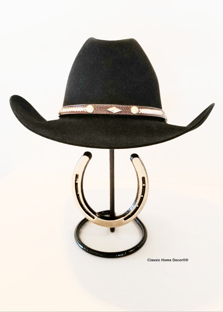 American Made Cowboy Hat Stand with Genuine Horseshoe Blk/Gold