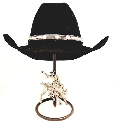 American Made Cowboy Hat Stand with Bull Rider Rust