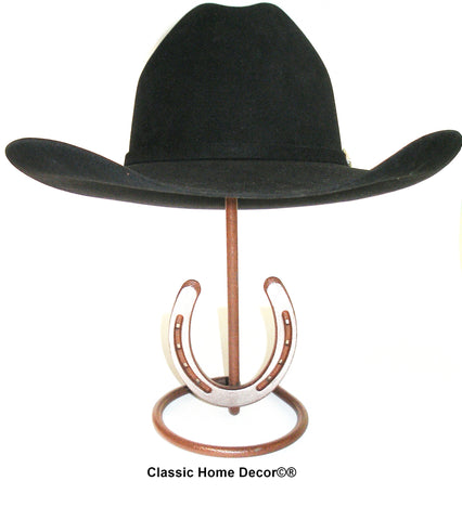 American Made Cowboy Hat Stand with Genuine Horseshoe CT