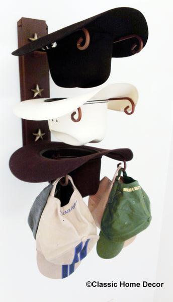 American Made Cowboy Hat Holder Star Holds Three Hats
