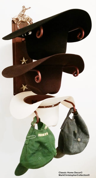 Cowboy Hat Holder Bronc Rider Rust with Gold Stars USA