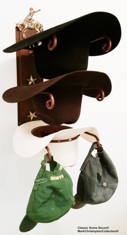 American Made Cowboy Hat Holder Bronc Rider Rust with Gold Stars USA