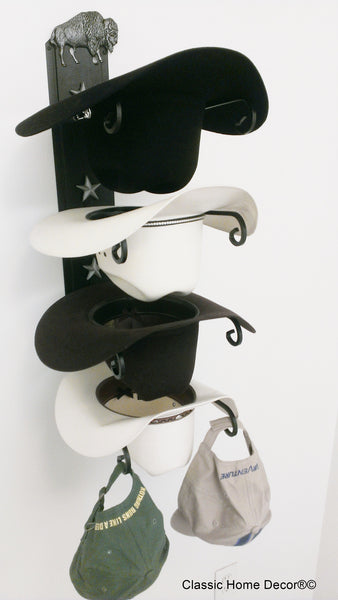 Cowboy Hat Holder Bison Black American Made