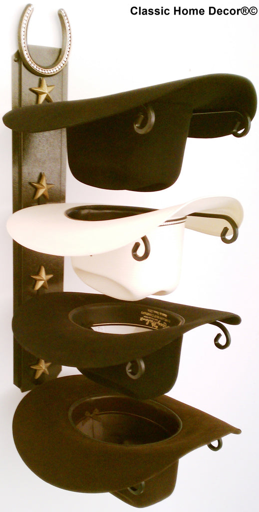 "American Made Cowboy Hat Holder with Genuine ""Lucky Horseshoe""Black 664 HSBLING BLK"