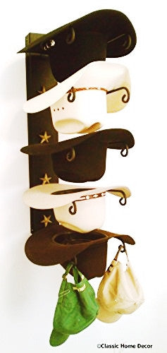 Cowboy Hat Holder Black with Gold Stars