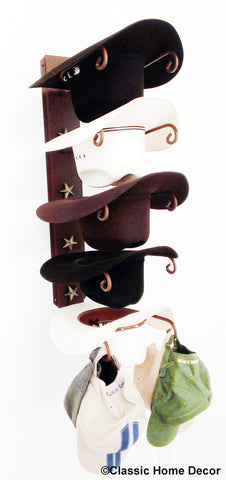 Cowboy Hat Holder Rust with Gold Stars  5 tier