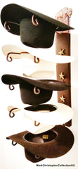 Cowboy Hat Holder Bison with Gold Stars