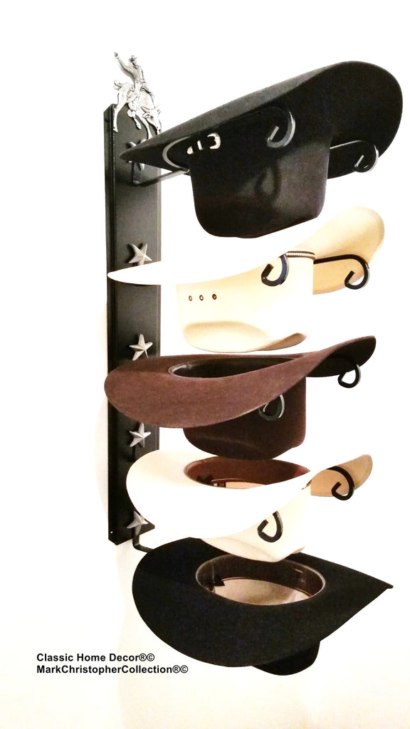 American Made Cowboy Hat Holder Bull Rider Black with Silver Stars 5 Hat