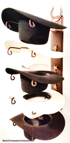 Cowboy Hat Holder Genuine Horseshoe with Gold Stars
