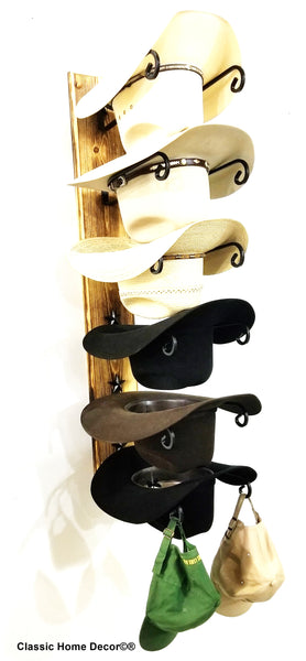 Cowboy Hat Racks with STARS Charred 6 Tier