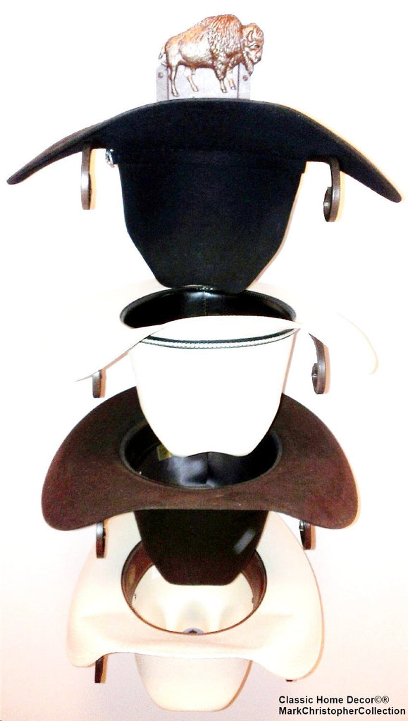 American Made Cowboy Hat Rack Bison Rust 4 Bison