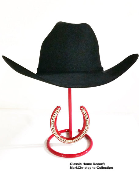 Cowgirl Hat Stand with Rhinestone Horseshoe Red USA