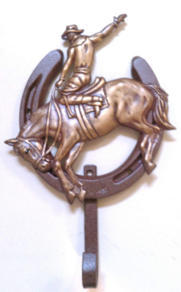 Lucky Lady Horseshoe Hook with Buckin Bronc