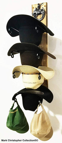 Cowboy Hat Rack American Made Charred 4 HS/Bronc