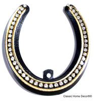Lucky Lady Horseshoe with Rhinestones  Black