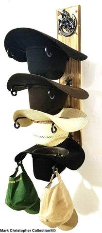 American Made Cowboy Hat Rack Charred 4 HS/Bull Rider