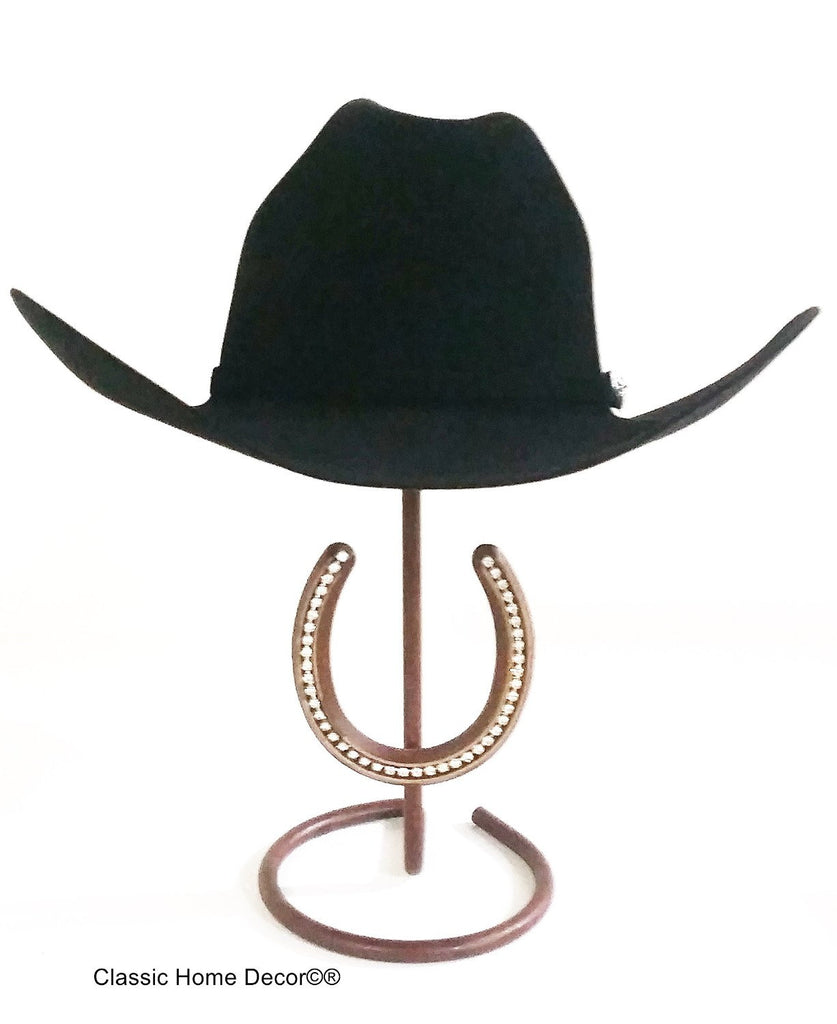 American Made Cowboy Hat Stand with Genuine Rhinestone Horse Shoe
