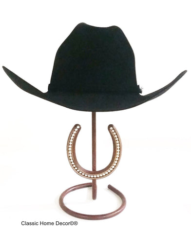 Cowboy Hat Stand with Genuine Rhinestone Horse Shoe