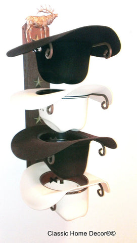 Cowboy Hat Rack Elk Rust American Made