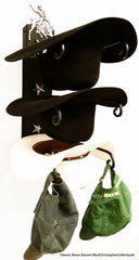 Cowboy Hat Holder Bull Black with Silver Stars USA