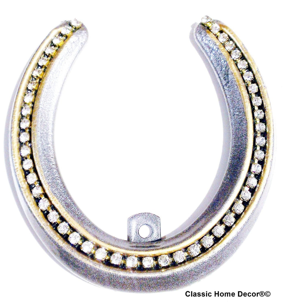 Lucky Lady Horseshoe with Rhinestones  Silver