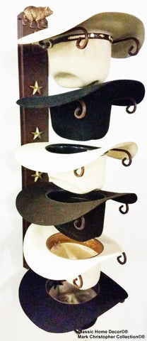 Cowboy Hat Holder STAR 886 Bear CT American Made 6 Tier Hat Rack