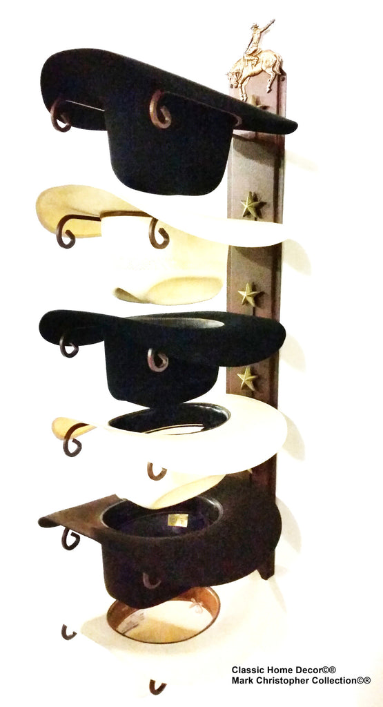 Cowboy Hat Holder STAR 886 Bronc CT American Made 6 Tier Hat Rack