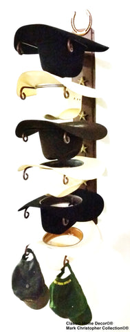 American Made Cowboy Hat Rack Bull Rider with Star Powder Coated Black