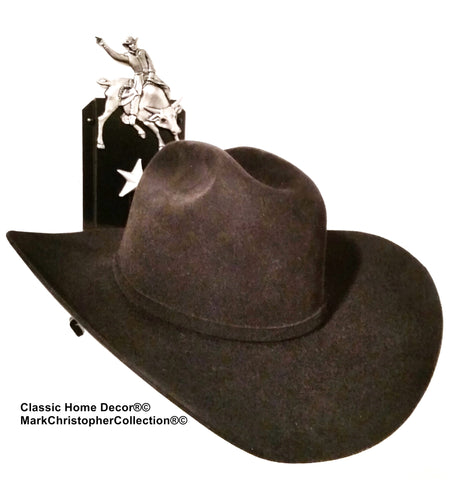 Cowboy Hat Holder Single with Stars  891 Bull Rider BLK/SLV
