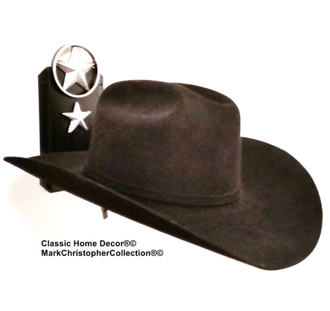Cowboy Hat Holder Single with Stars  891 Lone Star BLK/SLV
