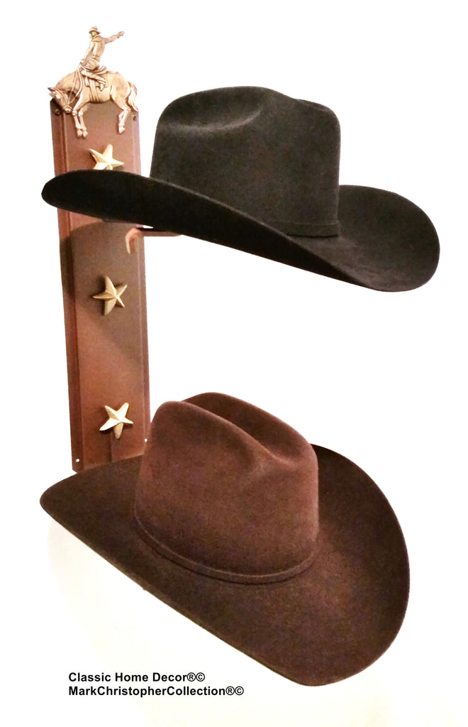 Cowboy Hat Holder Double with Stars  892 BRONC RUST