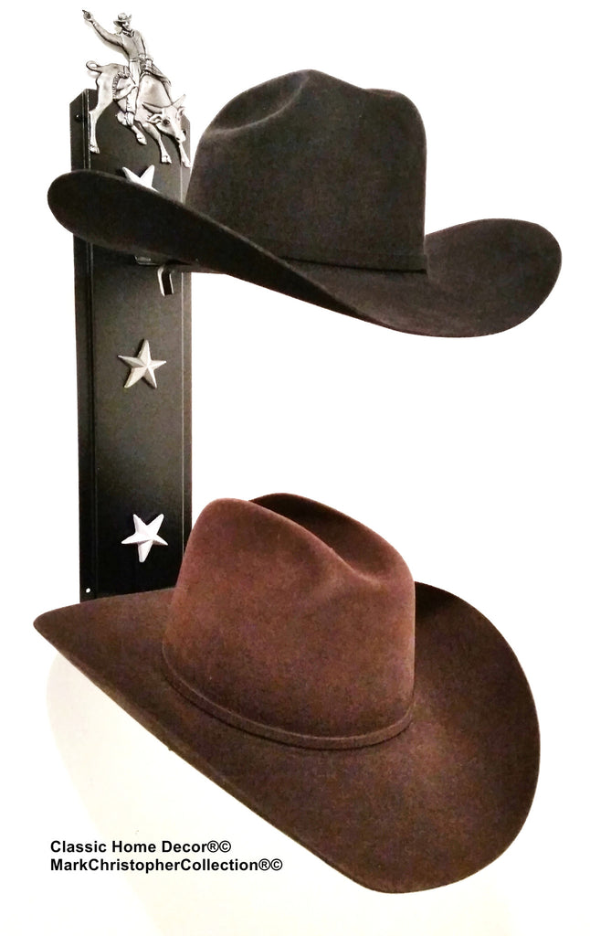 American Made Cowboy Hat Holder Double with Stars  892 Bull Rider BLK/SLV