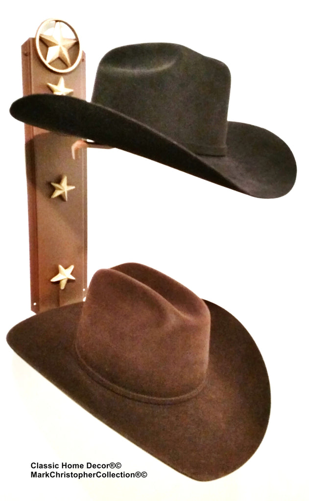 Cowboy Hat Holder Double with Stars  892 Lone Star RUST