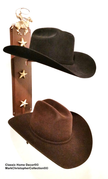 Cowboy Hat Holder Double with Stars  892 ROPER RUST