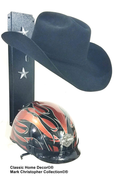Equestrian riding/Motorcycle helmet holder Double   892MHHSS BLK Silver Stars
