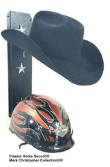 American Made Equestrian riding/Motorcycle helmet holder Double 892MHHSS BLK Silver Stars