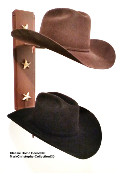 Cowboy Hat Holder Double with Stars  892 Rust