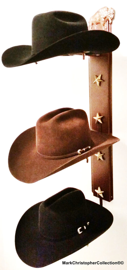 American Made Cowboy Hat Holder Bison Triple with Stars  893 Bison