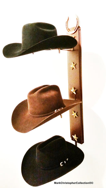 Cowboy Hat Holder Horseshoe Triple with Stars  893 HS