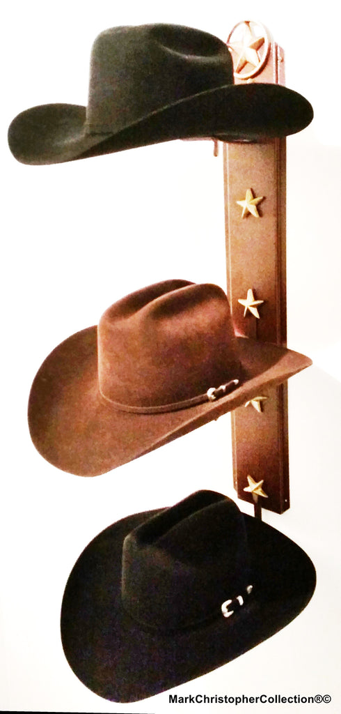 American Made Cowboy Hat Holder Lone Star Triple with Stars  893 LS