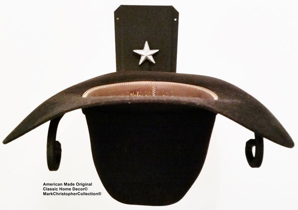 Cowboy Hat Holder STAR Black Silver USA