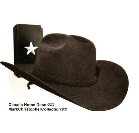 Cowboy Hat Holder Single with Stars  891 BLK/SLV
