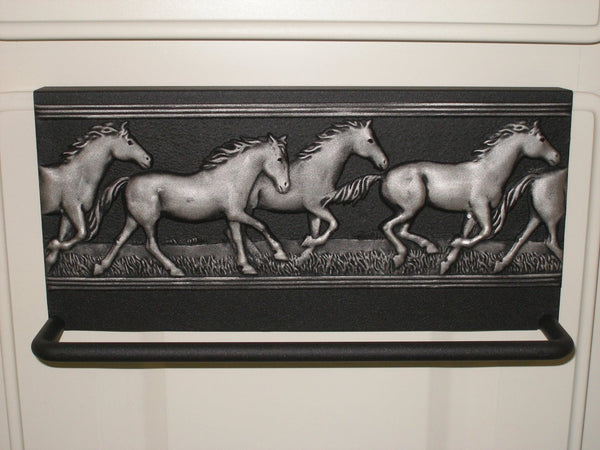 Towel Bar with Running horses Black