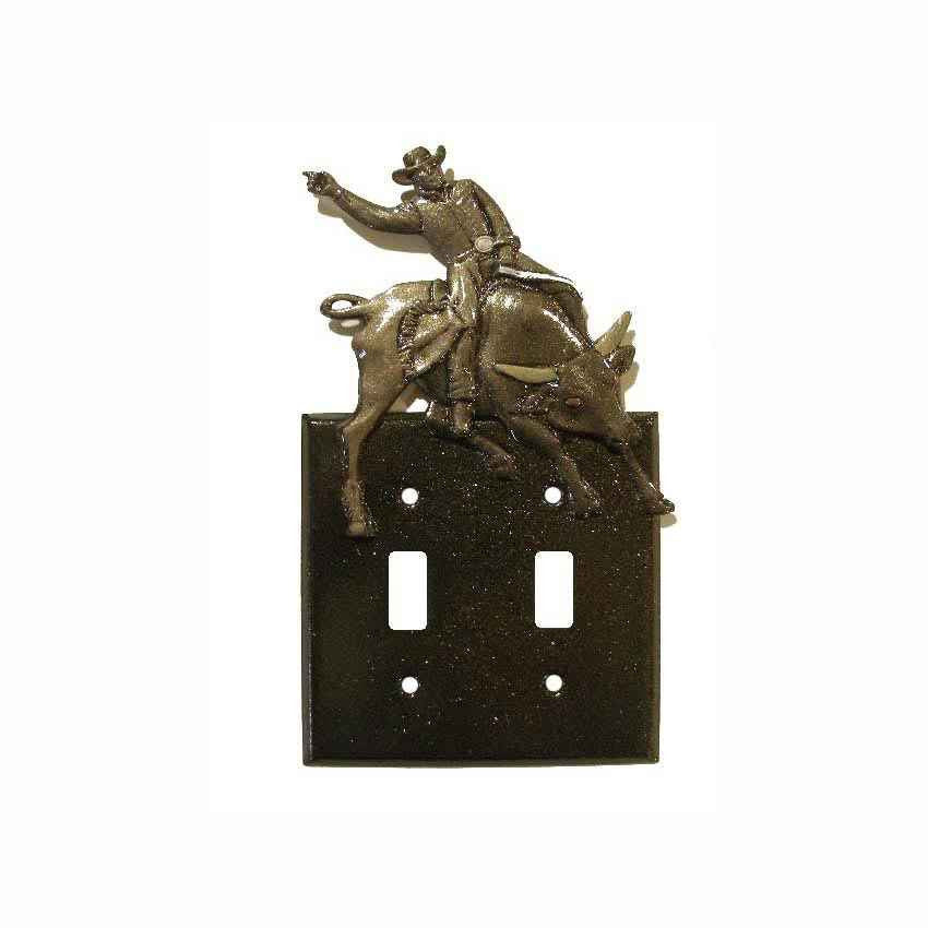 Double Switch Plate with Bull Rider /Black with Hand Finish