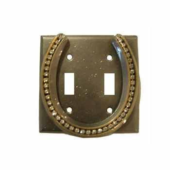 Double Switch With Lucky Horseshoe / Silver With Rhinestones