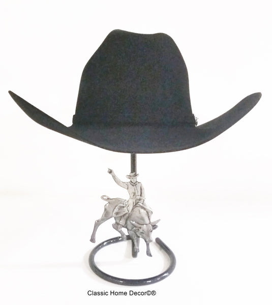 Cowboy Hat Stand with Bull Rider Black