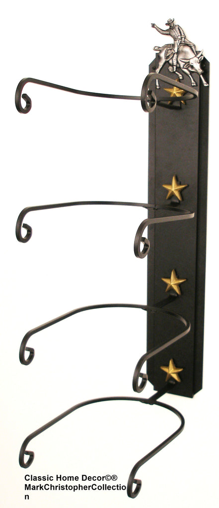 American Made Cowboy Hat Rack With Bull Rider