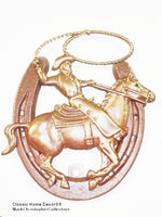 Lucky Lady Horseshoe with Cowboy Roper