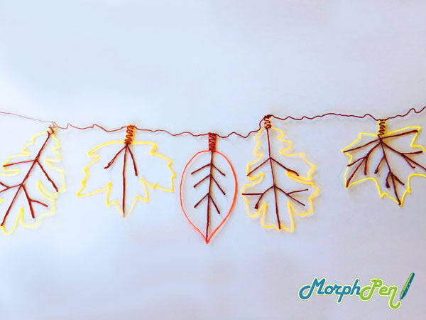 Beautiful 3D Art Pen Fall Leaf Garland